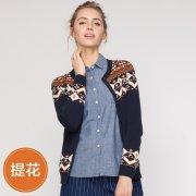 针织开衫 纯棉外套 拼色提花纽扣女毛衣外套